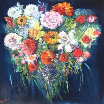 Bouquet Coeur HUILE 80*80