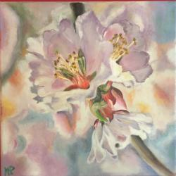 Fleurs d amandier HUILE 30*30 180 E