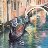 Il GONDOLIERE   65*54  Série : Venise et ses reflets