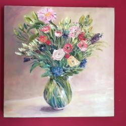 Bouquet printannier  huile 40/40 Toile vendue