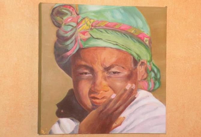 Jeune Fille Afghane - Huile - 40 cm x 40 cm - 2012