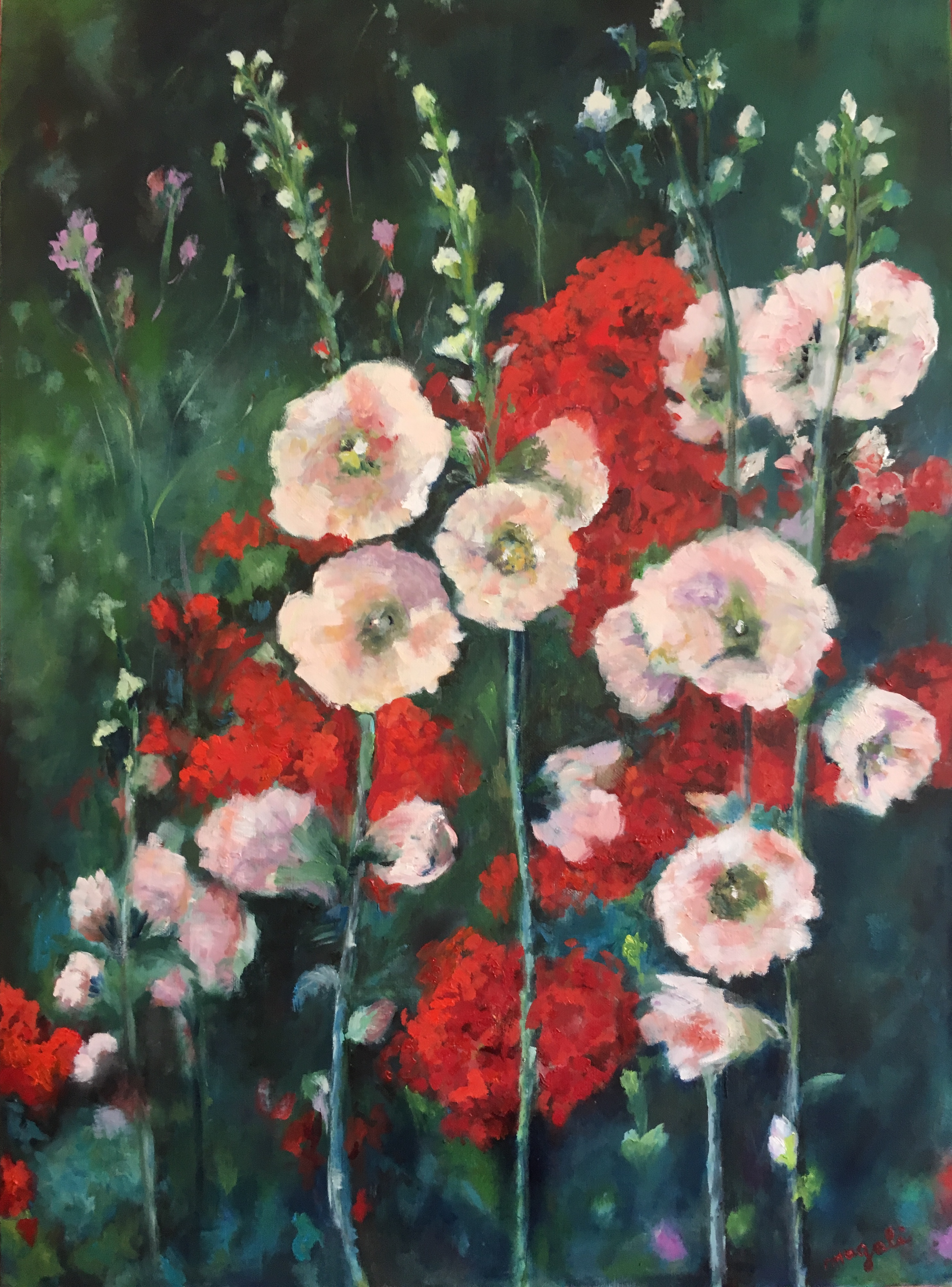 ROSES TREMIERES HUILE 73*50
